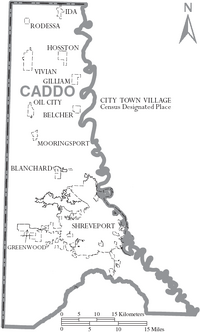 Map of Caddo Parish Louisiana With Municipal Labels