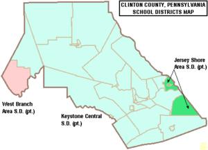 Map of Clinton County Pennsylvania School Districts