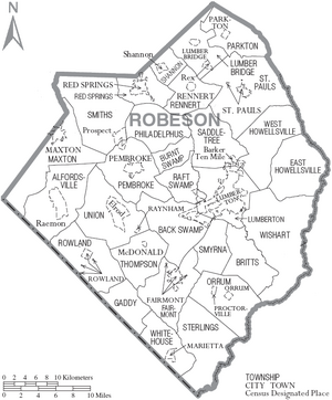 Map of Robeson County North Carolina With Municipal and Township Labels