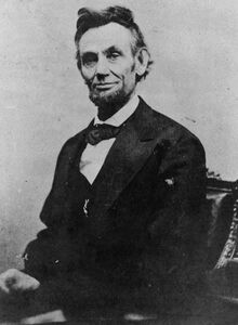 Abraham Lincoln half length seated, April 10, 1865