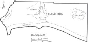 Map of Cameron Parish Louisiana With Municipal Labels