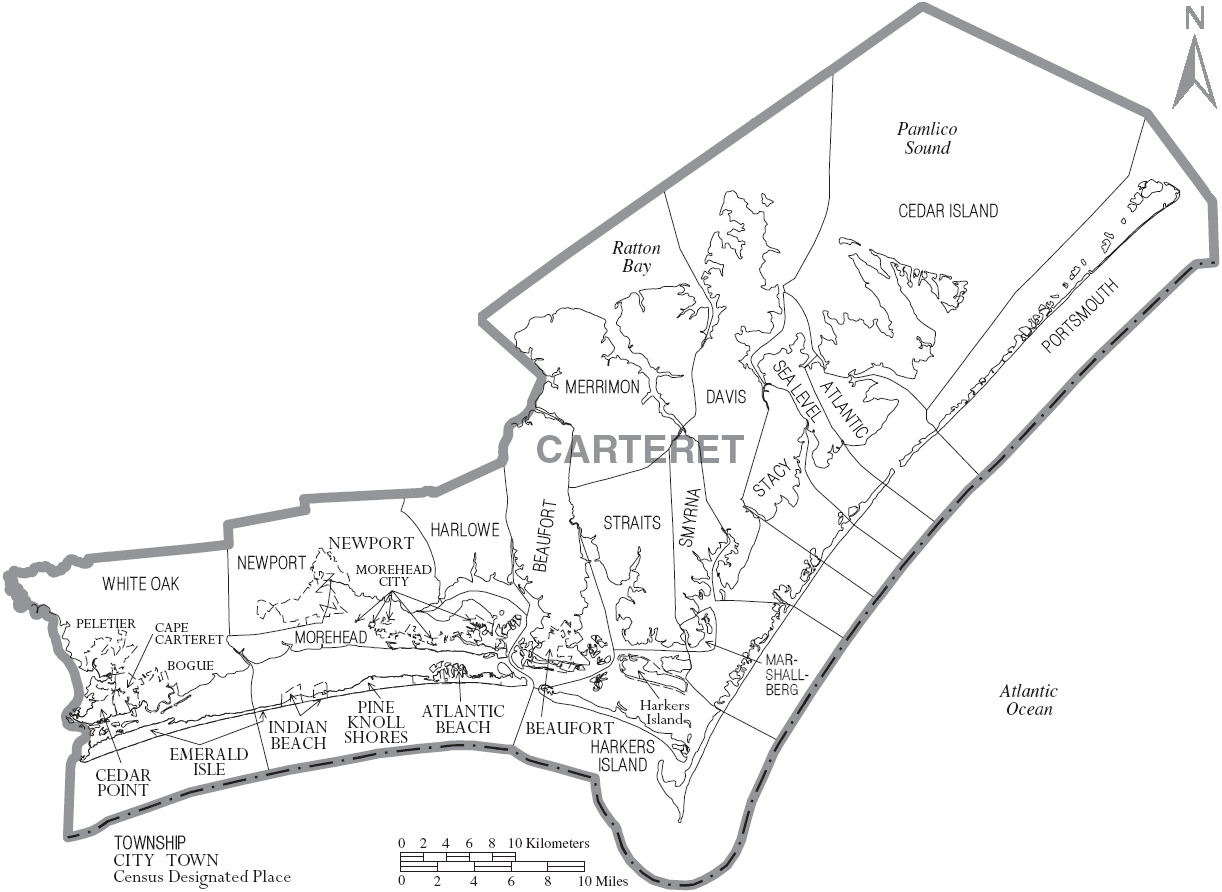 North carolina carteret county williston - Map Of Carteret County North Carolina With Municipal And Township Labels