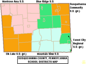 Map of Susquehanna County Pennsylvania School Districts