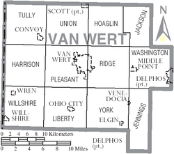 Map of Van Wert County Ohio With Municipal and Township Labels