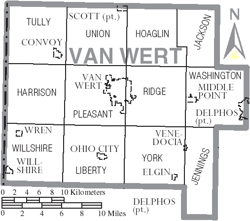 Image Map Of Van Wert County Ohio With Municipal And Township