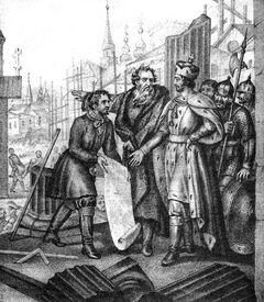 Grand Duke Yaroslav the city resumes after the devastation of the Tatars of Russia (Boris Chorikov)