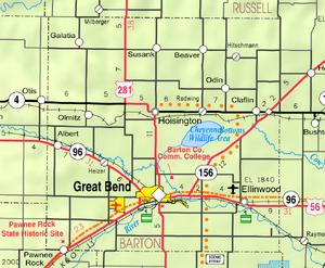 Map of Barton Co, Ks, USA