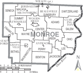 Map of Monroe County Ohio With Municipal and Township Labels