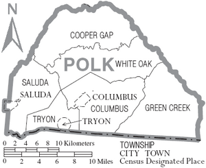 Map of Polk County North Carolina With Municipal and Township Labels