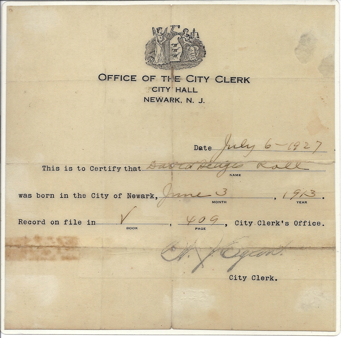 Fresh pics of city hall birth certificate business cards and image david hedges roll birth certificate 1913 aiddatafo Image collections
