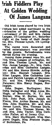 James Langan (1857-1945) and Mary McHugh (born 1858) anniversary in the Jersey Journal on Tuesday, May 26, 1931