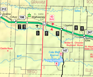 Map of Trego Co, Ks, USA