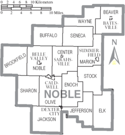 Map of Noble County Ohio With Municipal and Township Labels