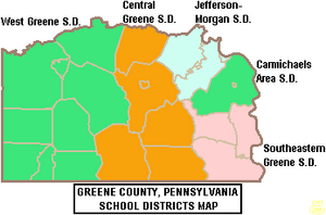 Map of Greene County Pennsylvania School Districts