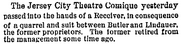 Theatre Comique, Jersey City, New Jersey in the New York Times on December 6, 1881