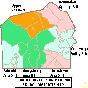 Map of Adams County Pennsylvania School Districts