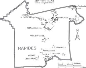 Map of Rapides Parish Louisiana With Municipal Labels
