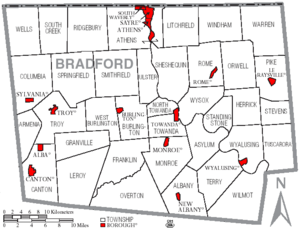 Map of Bradford County Pennsylvania with Municipal and Township Labels