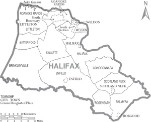 Map of Halifax County North Carolina With Municipal and Township Labels