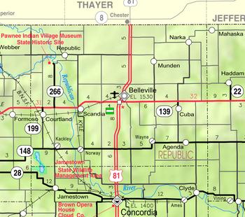 Map of Republic Co, Ks, USA