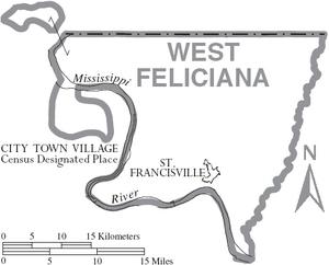 Map of West Feliciana Parish Louisiana With Municipal Labels