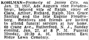 Ada Freudenberg Kohlman funeral notice in the New York Times on January 25, 1957