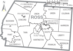 Map of Ross County Ohio With Municipal and Township Labels