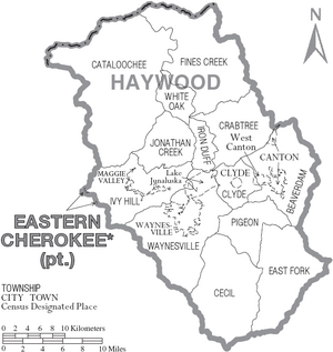 Map of Haywood County North Carolina With Municipal and Township Labels