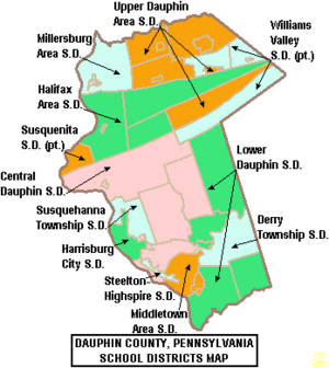 Map of Dauphin County Pennsylvania School Districts