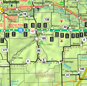 Map of Wabaunsee Co, Ks, USA