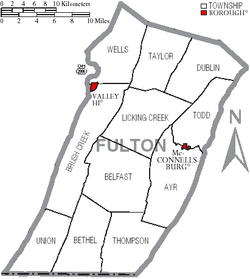 Map of Fulton County Pennsylvania With Municipal and Township Labels