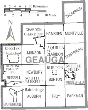 Map of Geauga County Ohio With Municipal and Township Labels