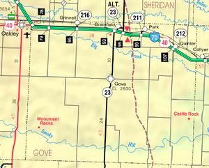 Map of Gove Co, Ks, USA