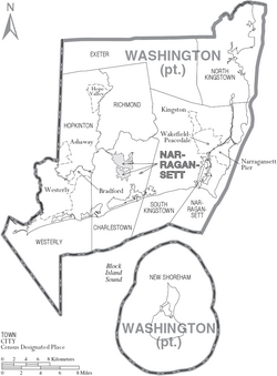 Map of Washington County Rhode Island With Municipal Labels