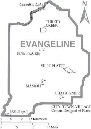 Map of Evangeline Parish Louisiana With Municipal Labels