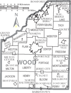 Map of Wood County Ohio With Municipal and Township Labels