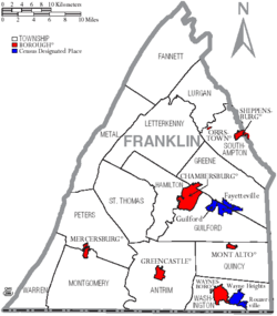 Map of Franklin County Pennsylvania With Municipal and Township Labels