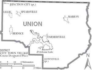 Map of Union Parish Louisiana With Municipal Labels