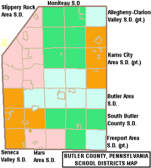 Map of Butler County Pennsylvania School Districts
