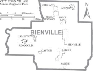 Map of Bienville Parish Louisiana With Municipal Labels