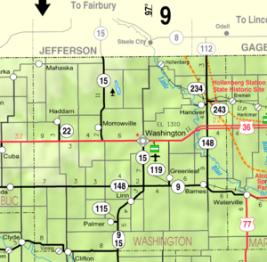 Map of Washington Co, Ks, USA