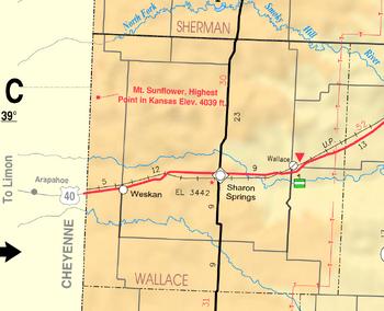 Map of Wallace Co, Ks, USA