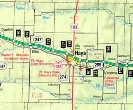 Map of Ellis Co, Ks, USA