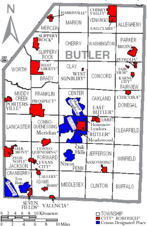 Map of Butler County Pennsylvania With Municipal and Township Labels