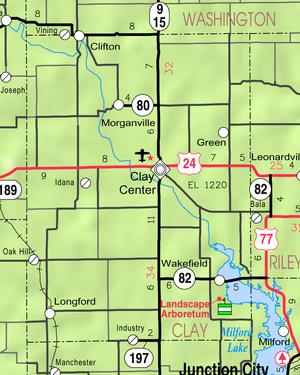 Map of Clay Co, Ks, USA