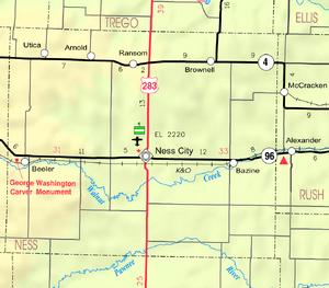 Map of Ness Co, Ks, USA