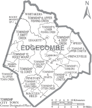 Map of Edgecombe County North Carolina With Municipal and Township Labels