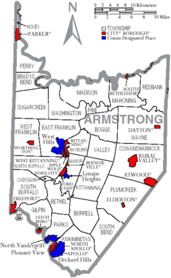 Map of Armstrong County Pennsylvania With Municipal and Township Labels