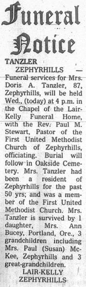 Tanzler-Doris obituary