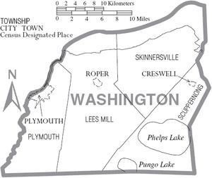 Map of Washington County North Carolina With Municipal and Township Labels